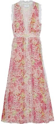 Giambattista Valli Chantilly Lace-trimmed Floral-print Silk-chiffon Maxi Dress