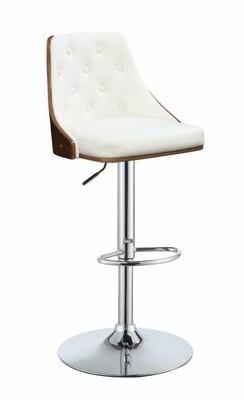 George Oliver Camden Adjustable Height Swivel Bar Stool Upholstery: White