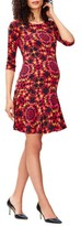 Leota Women's 'Kelsey' Print Drop Waist Maternity Dress