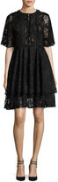 Sachin + Babi Short-Sleeve Tiered Lace Cocktail Dress, Jet