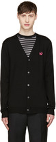McQ by Alexander McQueen Black Wool Embroidered Cardigan