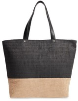 Cesca Colorblock Straw Tote - Black