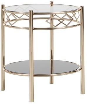 Weston Home Tabita Black Tempered Glass Metal End Table, Rose Gold