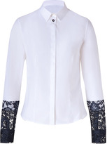Paul Smith White/Navy Lace-Cuff Stretch Cotton Shirt