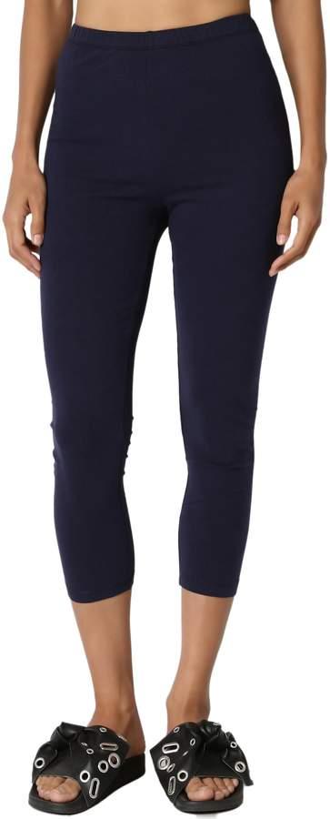 TheMogan Women's Basic Cotton Spandex Cropped Capri Leggings L
