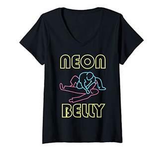 Womens Neon Belly Jiu Jitsu Gifts V-Neck T-Shirt