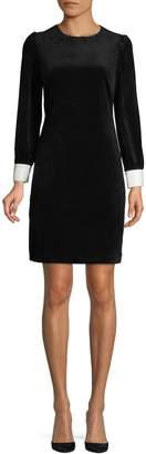 Karl Lagerfeld Paris Striped Velvet Long-Sleeve Sheath Dress