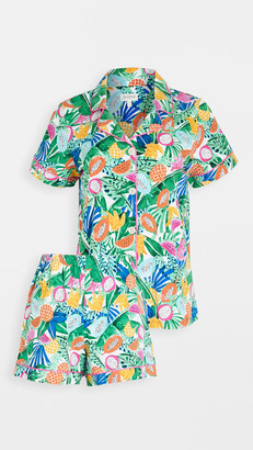 Bedhead Pajamas Tropical Fruits Short-Sleeve Classic Shorty PJ Set