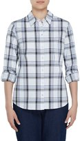 Allison Daley Long Roll-Tab Sleeve Windowpane Plaid Button Front Shirt