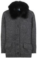 Prada Fur-trimmed Angora And Wool Cardigan