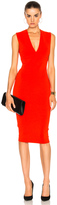 Victoria Beckham Matte Jersey Sleeveless V Neck Fitted Dress
