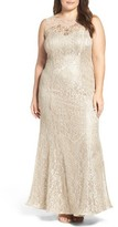 Xscape Evenings Plus Size Women's Embellished Illusion Lace Mermaid Gown