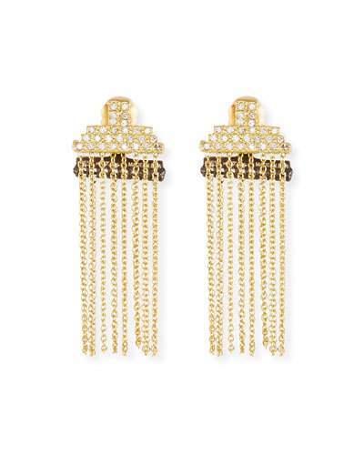 Armenta Old World Petite Stacked Bar Chain Earrings w/ Diamond Pavé