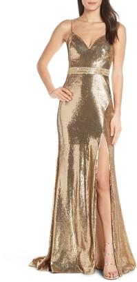Mac Duggal Plunge Neck Metallic Slit Gown