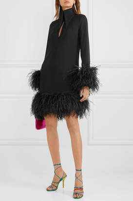 16Arlington Michelle Feather-trimmed Mini Dress - Black