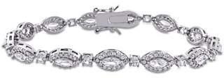Miabella 9-1/2 Carat T.G.W. Created White Sapphire Sterling Silver Halo Tennis Bracelet