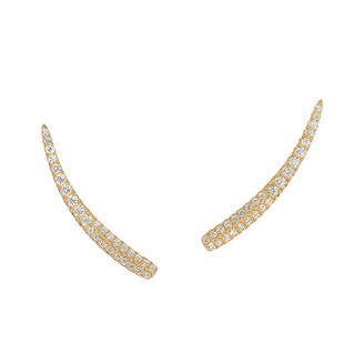 Graziela Gems Curve Gold Over Silver 0.56 Ct. Tw. Natural White Zircon Ear Climbers