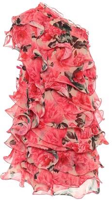 Costarellos Asymmetric floral minidress