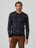 Frank and Oak Jacquard-Knit Cotton Sweater in Dark Sapphire