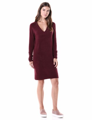 Daily Ritual Mid-gauge Stretch V-neck Sweater Dress Pale Mauve XL