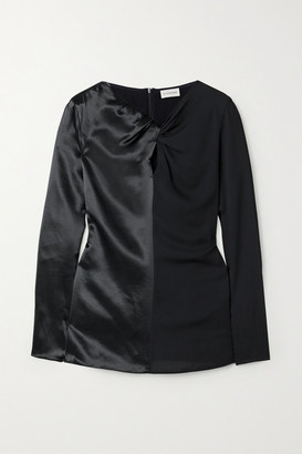 By Malene Birger Ficus Twist-front Paneled Satin And Crepe Blouse - Black