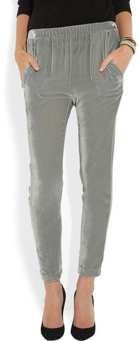 Band Of Outsiders Silk-blend velvet tapered pants