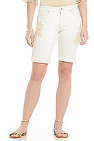 Miraclebody Jeans Faith Twill Floral Embroidered Bermuda Shorts