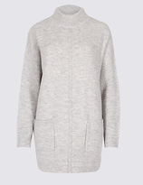 M&S Collection Ribbed Turtle Neck Tunic Jumper