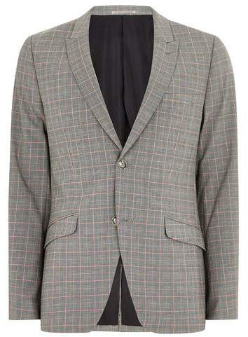 Topman Mens Charcoal With Orange Check Ultra Skinny Suit Jacket