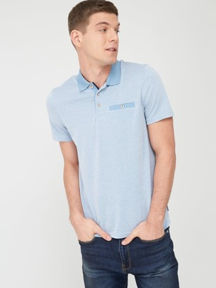 Ted Baker Contrast Collar Polo Shirt - Mid Blue