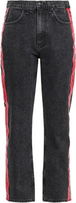 Rag & Bone Leather-trimmed Striped Cropped High-rise Slim-leg Jeans