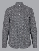 AutographMarks and Spencer Pure Cotton Slim Fit Printed Shirt