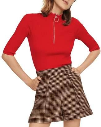 Maje Misty Ribbed Zip-Detail Sweater