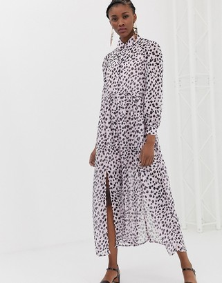 Glamorous maxi shirt dress in dalmatian print