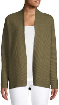 Eileen Fisher Open Front Linen-Cotton Cardigan