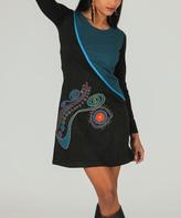 Aller Simplement Teal & Black Color Block Scoop Neck Dress
