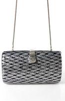 Saks Fifth Avenue Silver Black Small Box Clutch Handbag