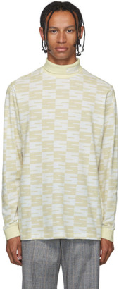 SSS World Corp White and Beige Logo Turtleneck