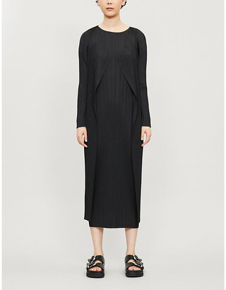 Pleats Please Issey Miyake Summer Ladies Black Basic Semi-Sheer Relaxed-Fit Pleated Coat, Size: 4