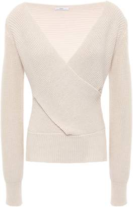 Tome Wrap-effect Ribbed Wool And Cotton-blend Sweater