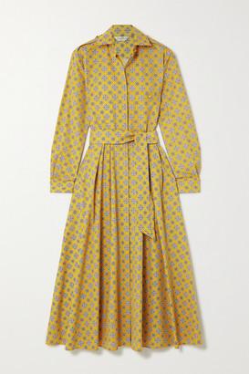 Max Mara Rey Belted Printed Cotton Midi Shirt Dress - Yellow
