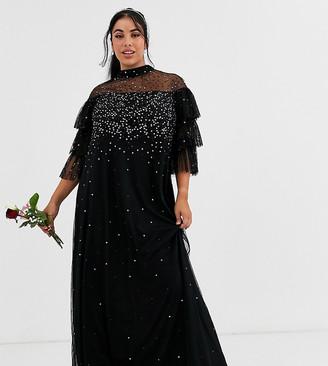 Maya Plus Bridesmaid delicate sequin tulle maxi dress in black