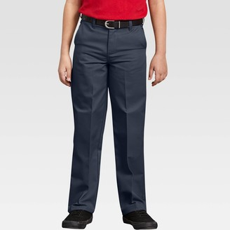 Dickies Boys' Classic Fit Straight Leg Flat Front Uniform Chino Pants -