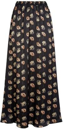 Phoebe Grace Plain Jane Floaty Skirt in Black Poppy Print