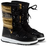 Moon Boot Black and Gold W.E. Quilted Moon Boots