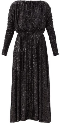 Saint Laurent Long-sleeved Sequinned Maxi Dress - Black