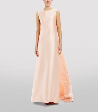 Monique Lhuillier Feather Train Gown