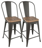 "Lumisource Oregon 24"" Industrial High Back Counter Stool-Set of 2"