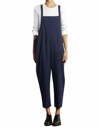 VONDA Women's Strappy Jumpsuits Baggy Overalls Casual Cotton Dungarees D-Navy 3XL