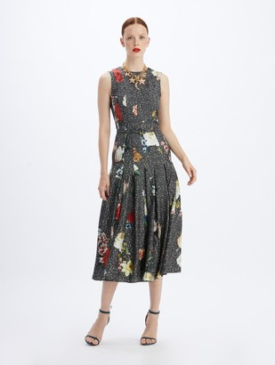 Oscar de la Renta Silk Chiaroscuro Herringbone Dress